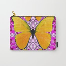 FUCHSIA COLORED  ORCHIDS &  YELLOW  BUTTERFLY FLORAL Carry-All Pouch