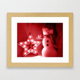 Red Snowman Framed Art Print