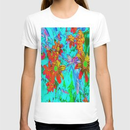 Aqua Tropical with Yellow and Orange Flowers T-shirt