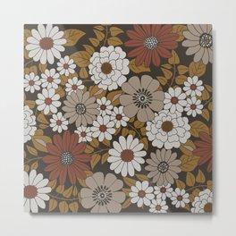 Brown, Orange, and Ivory Retro Flower Pattern Metal Print