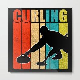 Retro Curling Distressed Metal Print
