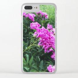 Pink Peonies in Garden Tilt Shift Clear iPhone Case