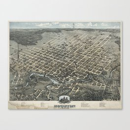 Vintage Pictorial Map of Houston Texas (1873) Canvas Print