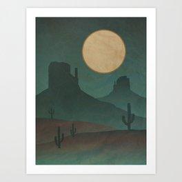 Desolate Desert Night: Southwestern Landscape Art Print