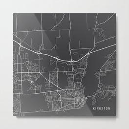 Kingston Map, Canada - Gray Metal Print