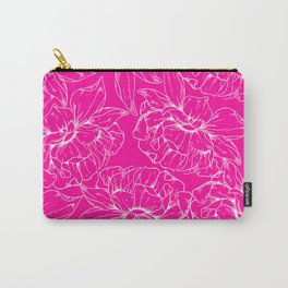 Neon pink white hand painted floral illustration Carry-All Pouch