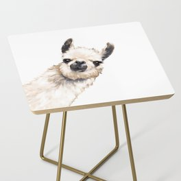 Sneaky Llama White Side Table