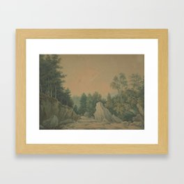 Forest river, 1786, England, by John Smith. Framed Art Print