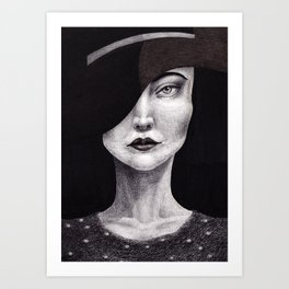 Untitled - charcoal graphite and oil drawing - fashion beauty Art Print