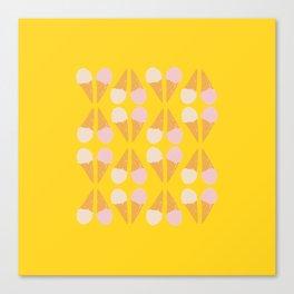Ice Cream Cone Print Yellow Canvas Print