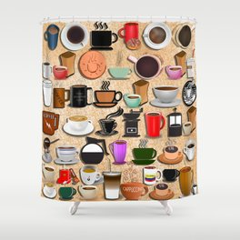 Coffee Mugs, Cups and Makers Shower Curtain