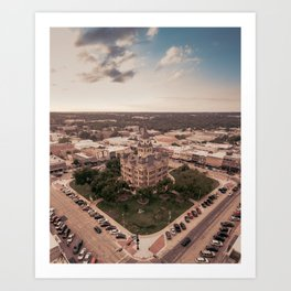 Denton, TX Square and Courthouse Art Print