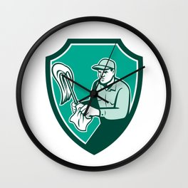 Janitor Cleaner Holding Mop Cloth Shield Retro Wall Clock