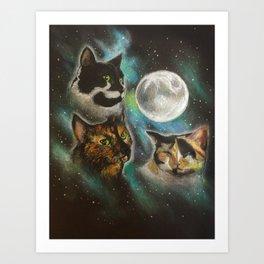 Three Cat Moon Art Print