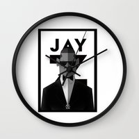 jay z Wall Clocks featuring JAY-Z by olivier silven