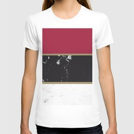 Marble Mix Stripes #2 #black #white #red #gold #decor #art #society6 T-shirt