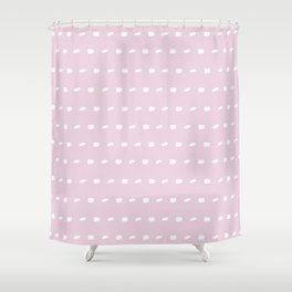 White sewing over pink background seamless surface pattern, broken horizontal lines Shower Curtain