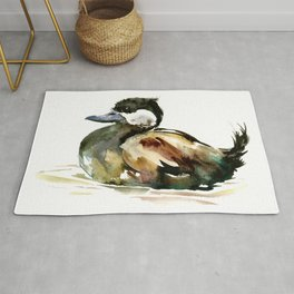 Ruddy Duck, duck children illustration, cute duck artwork Rug