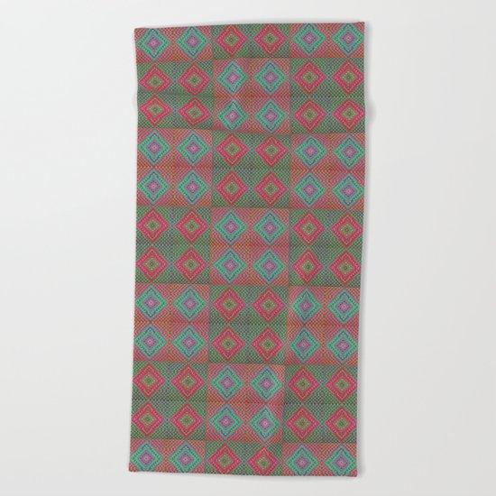 Colonial Rug Pattern Beach Towel