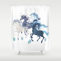 running Shower Curtains featuring Running Unicorns by Sumi Illustrator