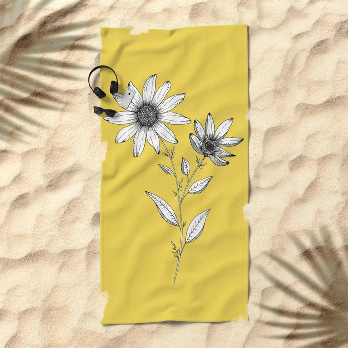 Wildflower line drawing | Botanical Art Beach Towel