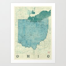 Ohio State Map Blue Vintage Art Print