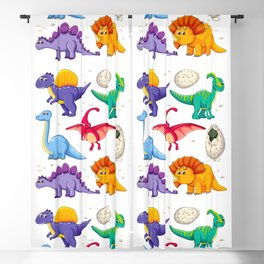 colorful dinosaurs Blackout Curtain