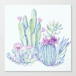 Mixed Cacti Light Blue #society6 #buyart Canvas Print