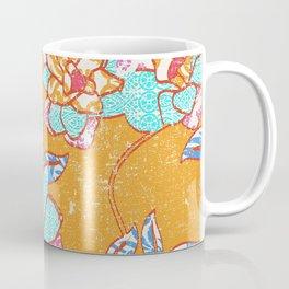 Crayon Bright Happy Floral on Summer Orange Coffee Mug