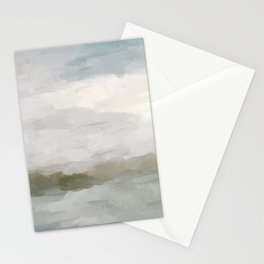 Gray Blue Sage Green Sunrise Abstract Nature Ocean Painting Art Print Wall Decor  Stationery Cards