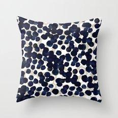 Inky Indigo Dots Throw Pillow