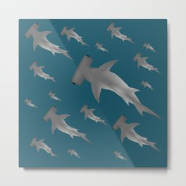 Hammerhead shark school Metal Print