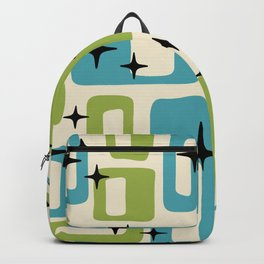 Retro Mid Century Modern Abstract Pattern 225 Blue and Green Backpack