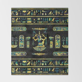 Egyptian  Gold and Blue Marble Ornament Throw Blanket