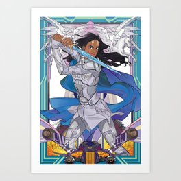 The blue knight Art Print