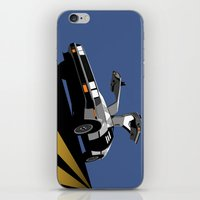 delorean iPhone & iPod Skins featuring Delorean - Retro Poster; Blue by Geoff Ombao Car Art