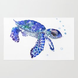 Cute Blue Baby Sea Turtle Rug