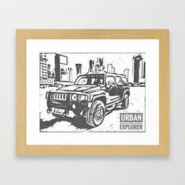 Urban Explorer - Hummer H3 Scetch Framed Art Print