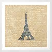 eiffel tower Art Prints featuring Eiffel Tower by Zen and Chic