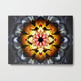 Flower Mandala grey and orange color. Metal Print