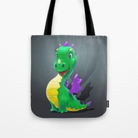 smaug Tote Bags featuring The Childhood of Smaug ;) by pakowacz