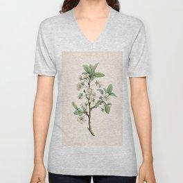 Cherry Blossom Flower Botanical Illustration Unisex V-Neck