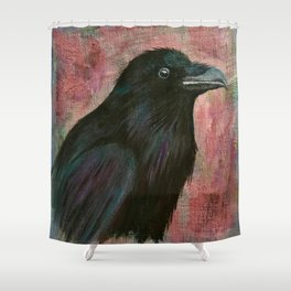 Raven rising against a pink sunset Shower Curtain