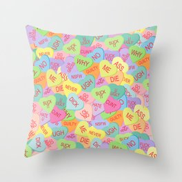 Candy Hearts Pattern - NSFW Throw Pillow