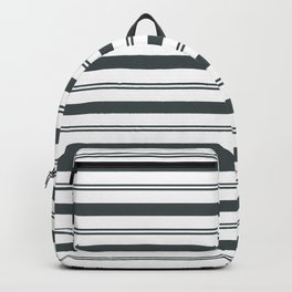 PPG Night Watch Pewter Green and White Stripes, Wide and Narrow Horizontal Line Pattern Backpack
