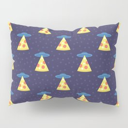 Abstract futuristic print with flying saucers, rays of light with pizza. Pillow Sham