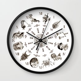 """JAPANESE HOROSCOPE CHART"" Wall Clock"
