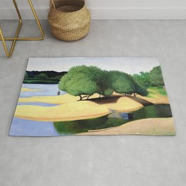 Sandbanks on the Loire river pastoral landscape painting by Felix Vallotton Rug
