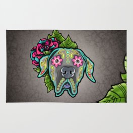 Great Dane with Floppy Ears - Day of the Dead Sugar Skull Dog Rug