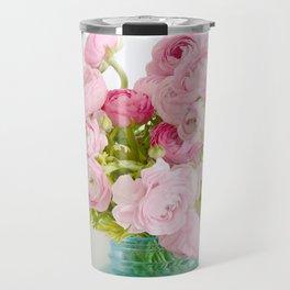Dreamy Shabby Chic Ranunculus Peonies Roses Print - Spring Summer Garden Flowers Mason Jar Travel Mug